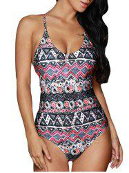 Padded Backless Graphic Swimwear