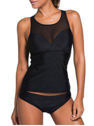 Mesh Panel Racerback Tankini Set - BLACK