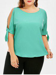 Bowtie Cold Shoulder Chiffon Plus Size Top