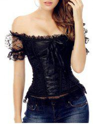 Off-The-Shoulder Lace-Up Corset Top - BLACK