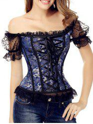 Off-The-Shoulder Lace-Up Corset Top - DEEP BLUE