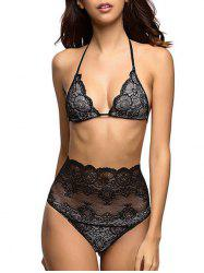 Halter Scalloped Lace Triangle Bra and Panty Set