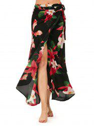 Lilies Flower High Waisted Chiffon Wrap Skirt