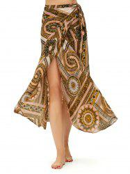 Boho Print High Waisted Chiffon Wrap Skirt - COLORMIX