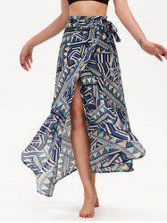Geometric Print High Waisted Chiffon Wrap Skirt - COLORMIX