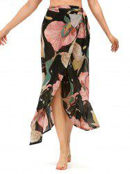 Lotus Leaf High Waisted Chiffon Wrap Skirt - BLACK
