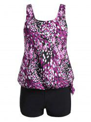 Plus Size Blouson Print Tankini - PURPLE