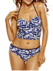 Printed Halter Lace-Up Underwire Bikini Set