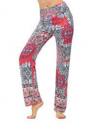 Elastic High Waisted Print Boho Pants