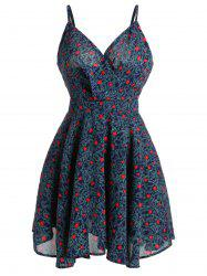 Spaghetti Strap Tiny Floral Print Mini Dress - Multicolore