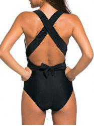 Cross Back Wrap One-Piece Swimsuit - Noir