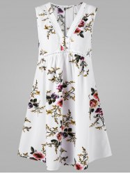 Sleeveless V Neck Floral Dress - WHITE