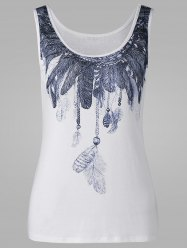 Scoop Neck Feather Print Tank Top