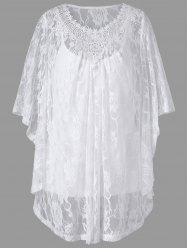 Plus Size Butterfly Sleeve Lace Blouse and Camisole