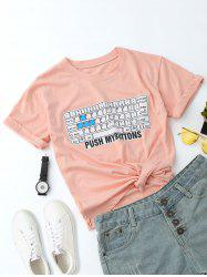 Round Collar Keyboard Letter Print Tee
