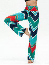 Chevron Print High Waisted Boho Pants - MULTI