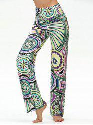 Round Geometric Print High Waisted Boho Pants - Multi