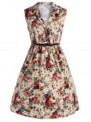 Plus Size Midi Vintage Floral Dress With Belt
