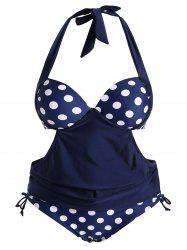 Plus Size Halter Polka Dot Retro Tankini Swimwear