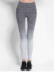 Ombre High Waist Skinny Running Leggings - GRAY
