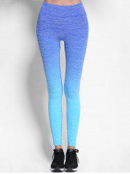Ombre High Waist Skinny Running Leggings - BLUE
