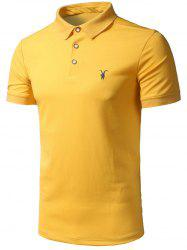 Half Button Embroidered Logo Polo Shirt