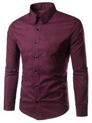 Long Sleeves Formal Plain Shirt - WINE RED