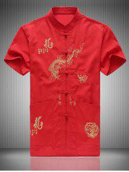 Dragon Embroidered Traditional Chinese Shirt - RED