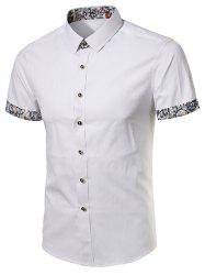 Short Sleeve Paisley Floral Print Panel Shirt - WHITE