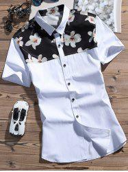 Michelia Alba Printed Color Block Shirt