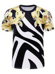 3D Symmetrical Golden Florals and Stripe Print T-Shirt