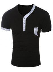 Short Sleeve Polka Dot Print Panel Slim Fit T-Shirt