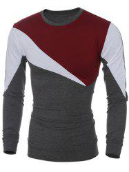 Long Sleeve Color Block Irregular Panel T-Shirt - WINE RED