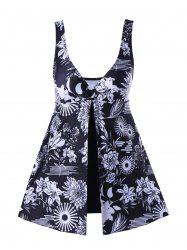 Floral Front Slit One-Piece Skirt Swimsuit