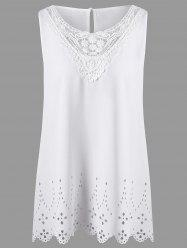 Plus Size Openwork Sleeveless Scalloped Edge Blouse