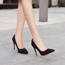 Mini Heel Metal Pendant Pumps - BLACK