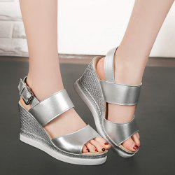 Wedge Heel Faux Leather Sandals