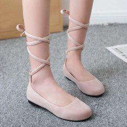 Lace Up Round Toe Flat Shoes