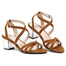 Block Heel Cross Straps Sandals