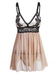 Lace Panel Slip Intimate Babydoll - KHAKI