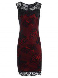 Lace Panel Sleeveless Pencil Sheath Dress - RED