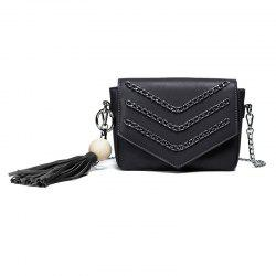 Chains Wood Ball Tassel Crossbody Bag