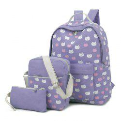 Canvas Cat Print 3 Pieces Backpack Set - PURPLE