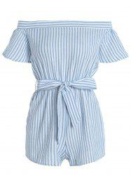 High Waist Off The Shoulder Striped Romper