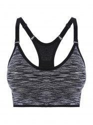 Padded Strappy Racerback Sports Bra - GRAY