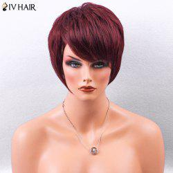 Siv Hair Side Bang Straight Layered Pixie Short Human Hair Wig