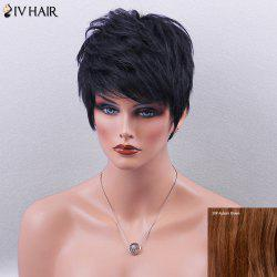 Siv Hair Layered Side Bang Slightly Curled Pixie Short Human Hair Wig