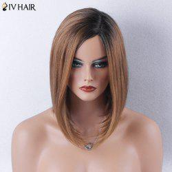 Siv Hair Side Part Dark Root Straight Bob Medium Human Hair Wig