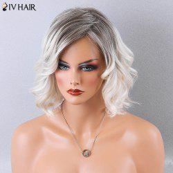 Siv Hair Side Part Two Tone Shaggy Curly Short Human Hair Wig - COLORMIX
