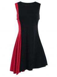 Sleeveless A Line Two Tone Dress